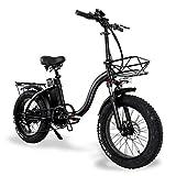 20 Zoll Elektrofahrrad Damen Herren Pendler Trekking Bike 750W 15Ah E-Bike mit Fahrradkorb und Rücklicht - 45km/h & 100km Reichweite - Pedelec für Mittleren Alters