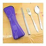 PYCONG Tragbare Reise-Bestecktasche aus Edelstahl, für den Außenbereich, Besteck, Küchenzubehör (Farbe: Violett)