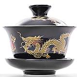 YBK Tech Porzellan Kung Fu Teetasse und Untertasse mit Deckel, traditionelles chinesisches Gaiwan Sancai Teeservice Drachenmuster (schwarz)