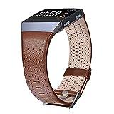 V-MORO Fitbit Ionic Armband, Leder Armbänder Großes, echtes Leder Smart Uhrenarmband Armband Ersatz Armband für Fitbit Ionic Smart Fitness Uhr(Dunkel Braun,Großes)