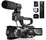 Videokamera 4K Camcorder mit Mikrofon 48MP Vlogging Kamera WiFi YouTube Kamera IR Nachtsicht 3'Touchscreen 30X Digital Zoom Video Camcorder Recorder mit 360 ° Funkfernbedienung und Gegenlichtblende