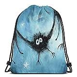 Fledermaus Zeichnung Blau Unisex Kordelzug Rucksack Tasche Polyester Cinch Sack Wasserdicht Sport Gym Bag Casual Daypack für Frauen