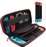 Tasche für Nintendo Switch, Harte Tragetasche Hülle Case mit Schutzfolie[1 Stück], Schutzhülle mit Aufbewahrung für 20 Spiele, Konsole & Zubehör - Rot
