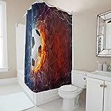 DAMKELLY Store Langlebig Fußball Duschvorhang moderner Stil - Badvorhang mit Haken Dekor für Badezimmerduschen White 150x200