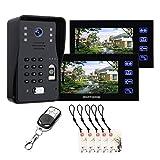 7-Zoll-Video-Türklingel, Fingerabdruck-Passwort RFID-Video-Türsprechanlage Hausüberwachung, Gegensprechanlage, Nachtsicht-Überwachungskamera + 2 Monitore