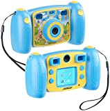 Somikon Kinderkamera: Kinder-Full-HD-Digitalkamera, 2. Objektiv für Selfies & 2 Sucher, blau (Kinderfotoapparat)