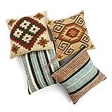 Handicraft Bazarr Diwali & Weihnachtsgeschenk Wohnzimmer Deko Sofa Sham Wolle Jute Kelim Kissenbezug handgeknüpft traditionell Textil getuftet Zottelkissen Kissenbezug