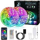 Bonve Pet LED Strip, Bluetooth RGB LED Streifen, Farbwechsel LED Lichterkette 12M mit Steuerbar via App, 16 Mio. Farben, Fernbedienung, Sync mit Musik, LED Band für Schlafzimmer TV Zuhause Schrankdek