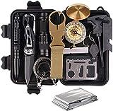 REXUS Survival Kit Set,13 in 1 Camping und Reisen - Notfall Set mit Klappmesser, Feuerstarter, Taschenlampe, Tactical Pen und Weiterem Zubehör,Geschenk für Vater und Freund