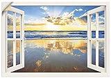 Artland Wandbild selbstklebend Vinylfolie 70x50 cm Wanddeko Wandtattoo Fensterblick Fenster Sonnenaufgang Strand Meer Ozean Küste T5LY