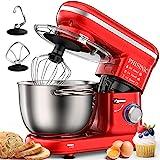 PHISINIC Küchenmaschine Knetmaschine 1500W Teigmaschine Rührmaschine mit 5,5 L Edelstahl Schüssel 6 Geschwindigkeiten Geräuscharme Teigknetmaschine inkl 3-Teiligem Patisserie-Set und Spritzschutz Rot
