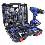 LETTON Werkzeugkoffer mit Bohrmaschine 21V Batterie für 108 Zubehörteile Home Cordless Repair Kit Werkzeugset - Blau