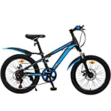 LFFME 20'Wheel Boys Mountainbike, 7-Gang, Mit Doppelscheibenbremse Und Verstellbarem Sattel (Alter 7 Bis 12 Jahre),A
