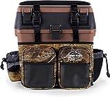 normani Angelkoffer Angelbox Angeltasche gepolsterte Sitzkiepe Sitzfunktion Gerätekasten mit Rucksackfunktion und aufgesetzen Taschen - inklusive 4 Tackle-Boxen für Angelzubehör Farbe Brown