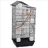 Yaheetech Vogelkäfig Vogelvoliere Wellensittichkäfig schwarz 46 x 35,5 x 99 cm, Vogelhaus mit Spielzeug Klettern