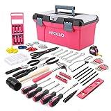 Apollo 170 pinker kompletter Haushalts-Werkzeugsatz mit rosafarbenen Werkzeugen, Wandaufhängeset und Werkzeugkiste für alltägliche Heimwerkerarbeiten und mehr für Frauen und Mädchen