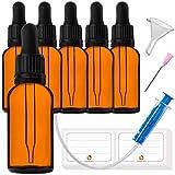 6x30ml Pipettenflasche Tropfflasche aus Braunglas Set - Dunkel kleine Glasgefäße als Apothekerflaschen Inklusive 17 Hilfszubehör