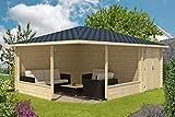 Alpholz 5-Eck Gartenlaube Maik-40 mit Anbau aus Massiv-Holz   Gartenhaus mit 40 mm Wandstärke   Garten Holzhaus inklusive Montagematerial   Geräteschuppen Größe: 400 x 570 cm   Spitzdach