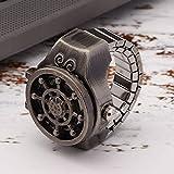 DAUERHAFT 2 Farben Flip-Up Cover Ring Armbanduhr Ring Finger Uhr Ausziehbares Steuerarmband Modell Quarz-Uhrwerk (Antik-Schwarz)