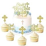 """JeVenis Kuchendekoration Glitzernd God Bless This Child"""" für Taufe Cupcake-Topper mit Kreuz Engel Fee Kuchenaufsatz christliche Feier Dek"""