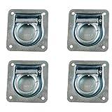 MS-Warenvertrieb 4 Stück Zurrmulde mit Feder 100 x 95 mm Stahl verzinkt 800 daN für Ladungssicherung