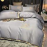 Bedding-LZ bettwäsche 135 x 200 Baumwolle,Sommer Gewaschene Seide vierteilige weiße Hotel Bettwäsche Steppdecke Bettblatt Bettwäsche-K_1,8m Bett (4 Stück)