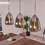 Pendelleuchte Francisco, verstellbare Deckenlampe aus Metall Anthrazit, 3-flammige Hängelampe mit Rauchglas-Schirme, 3 x E27 max. 60 Watt, geeignet für LED Leuchtmittel