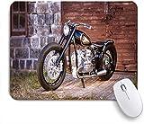 SUHOM Gaming Mouse Pad Rutschfeste Gummibasis,Motorrad Stein Ziegel Wand Holztür Boden grünes Gras schwarz Motorrad,für Computer Laptop Office Desk,240 x 200mm