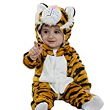 Doladola Unisex Baby Hooded Romper Tier Flanell Onesies Baby Strampler Overall-Tiger-18-24 M