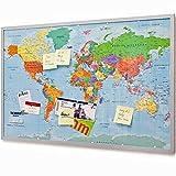 GOODS+GADGETS Pinnwand Weltkarte aus Kork mit Rahmen 120x80 cm - Memotafel aus Cork mit 20 Markierungsfähnchen - Weltkartenpinnwand Memoboard XXXL
