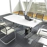 Weber Büroleben GmbH Easy Konferenztisch Bootsform 180x100 cm Weiß Besprechungstisch Tisch, Gestellfarbe:Silb