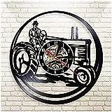 zgfeng Vinyl Wanduhr Traktor Farm Vinyl Schallplatte Wanduhr kreative Geschenke Jungen und Mädchen Teen Freunde einzigartige Kunst Design Vinyl Wanduhr-Mit LED