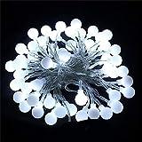 LED Ball String Lights Weihnachtsbeleuchtung Indoor Garland Wedding Xmas Decoration Licht, Weiß, 6M