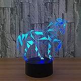 Nachtlicht 7 Color Horse 3D LED-Licht mit visuellem LED-Nachtlicht Kinder berühren USB-Nachtlicht Babyschlaf Nachtlicht Sternenlicht