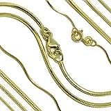 Goldkette Schlangenkette diamantiert Massiv 333 8Karat B: 0,70-1,20mm L: 40-50cm Echtgold Gelbgold Halskette hochwertiges Gold Collier für Damen Herren und Kinder (42.00, Breite: 1.20 mm)