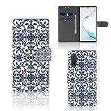 B2Ctelecom Handyhüllen für Samsung Galaxy Note 10 Strapazierfähiger Hülle Blumen-Blau
