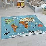 Paco Home Kinder-Teppiche, Kurzflor-Teppiche für Kinderzimmer mit vers. Designs Spielteppiche Bunt, Grösse:120x160 cm, Farbe:Türkis
