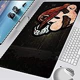 LJUKO Mouse Pad XXL 700X300X3mm Schwarz Spiel Charakter Pfeife Gaming Mauspad Gemütlich Mousepad rutschfest Und Verschleißfest Büro Mouse Pad Präzision Gaming Mousepad Für Spiele Computer Pc