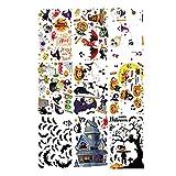 Prasacco Halloween-Aufkleber, Halloween-Kürbis, Fledermäuse, Spinnen-Aufkleber, Halloween-Charakter-Aufkleber, PVC-Halloween-Monster-Aufkleber für Kinder, Halloween-Party-Dekoration