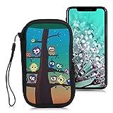 kwmobile Handytasche für Smartphones L - 6,5' - Neopren Handy Tasche Hülle Cover Case Schutzhülle - Eule Baum Mehrfarbig Blau Braun - 16,5 x 8,9 cm Innenmaße