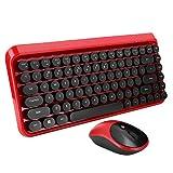 Kabelloses Tastatur- und Maus-Set, 84 Tasten, 2,4 GHz, Retro, Punk, Office, Gaming, Universal-Tastatur- und Maus-Kit für Computer, Geräuschunterdrückung, Multimedia-Tasten (rot)