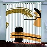 YTSDBB Blickdicht Gardinen für Schlafzimmer - Goldgelbe Kunst - B 183 x H 164 cm 3D Digitaldruck Druckmuster Öse Thermisch isoliert 90% für Schlafzimmer Wohnzimmer Kinderzimmer Junge mit Mädchen
