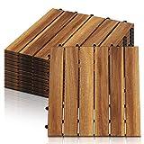 Hengda 11x Holzfliesen aus Akazienholz Balkonfliesen Terrassenfliesen, Bodenbelag mit Drainage, Fliese Leicht verlegbar(6 Latten | 1 m²)