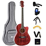 Winzz Westerngitarre Set Anfänger, Akustikgitarre Rot, Reisegitarre 39 Zoll für Studenten oder Erwachsene