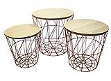 Bada Bing 3er Set Metall Korb Kupfer Optik Beistelltisch Metallkorb Couchtisch Kaffeetisch Wohnzimmertisch Modern Rund Holz Design Tisch 3 Größen 50