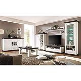 Lomadox Wohnzimmer Wohnwand Set in Pine weiß & Wenge Nb. mit Sideboard & Couchtisch