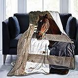 Fleecedecke 127 x 152,4 cm – Pferde-Maulkorb Corral Zuhause Flanell Fleece weich warm Plüsch Überwurf Decke für Bett/Couch/Sofa/Büro/Camping