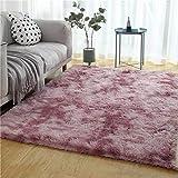 MEIDEL Bettvorleger Faux Lammfell Anthrazit Langflor Teppich teppiche Schurwolle. Teppich rund Wohnzimmer Schlafzimmer - Pink 200x240cm