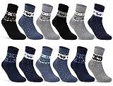 sockenkauf24 6 oder 12 Paar Damen THERMO Socken mit Innenfrottee Wintersocken Damensocken - D-27 (35-38, 12 Paar | Farbmix)