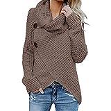 VECDY Damen Bluse | Weihnachten Geschenke | Frauen Langarm Solid | Sweatshirt Pullover | Tops | Bluse |T-Shirt | Elegantes Hemd mit | Knopfleiste | Hoodis | Karierter Pullover | Oben (42, Kaffee)